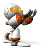 Cute robot kneeling is receiving something. Stock Photography