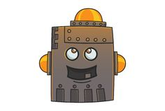 Cartoon Illustration Of Cute Iron Man. Cute Robot laughing. Vector Illustration. Isolated on white background