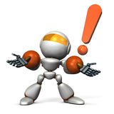 Cute robot is looking up at the sky with surprise. Royalty Free Stock Photography