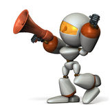 Cute robot with a loudspeaker, are cheering. Royalty Free Stock Image