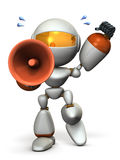 Cute robot with a loudspeaker is cheering. Royalty Free Stock Photo