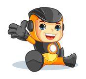 Cute Robot Mascot Cartoon Vector Illustration Say Hello. And happy face Royalty Free Stock Image