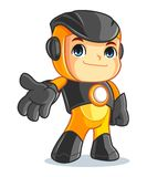 Cute Robot Mascot Cartoon Vector Illustration Welcome Stock Photography