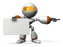 Cute robot with message boards, is pointing. Stock Photos
