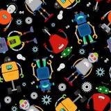 Cute robot pattern. Over black background. Vector illustration Stock Images