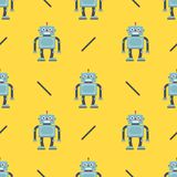 Cute robot pattern on a yellow background. children`s character for fabric. royalty free illustration