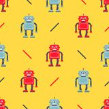 Cute robot pattern on a yellow background. royalty free illustration