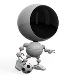 Cute robot play football Royalty Free Stock Images