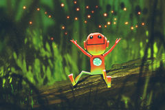Cute robot playing with fireflies in forest at night. Illustration painting Royalty Free Stock Image