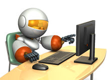 Cute robot is pointing the display of the personal computer. Stock Image