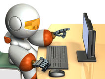 Cute robot is pointing the display of the personal computer. Royalty Free Stock Photos