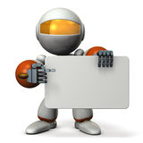 Cute robot is pointing something with the message board. Stock Photos