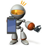 A cute robot presents information on the tablet PC. Royalty Free Stock Image
