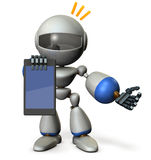 A cute robot presents information on the tablet PC. Royalty Free Stock Photography