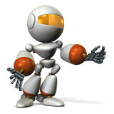 Cute robot resists desperately. Stock Images