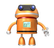 Cute robot say hello. Cute orange robot. Monitor display icon say hello to world Royalty Free Stock Photography