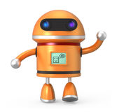 Cute robot say hello. Cute orange robot. Monitor display icon say hello to world Stock Image