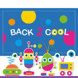 Cute robot schoolchildren greeting card Royalty Free Stock Photography