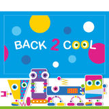 Cute robot schoolchildren greeting card Royalty Free Stock Photo