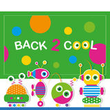 Cute robot schoolchildren greeting card Stock Photography