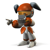 Cute robot sharing information with smartphone Stock Images