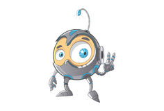 Cute Robot showing the victory sign. Stock Photo