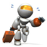 Cute robot is starting to travel. Royalty Free Stock Images