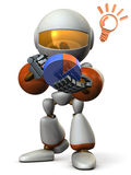 Cute robot strategize with the pie chart. Stock Images