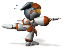 Cute robot is tempered the sense of balance. Royalty Free Stock Photography