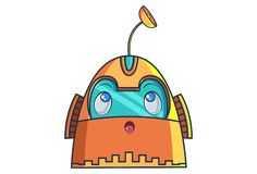 Cartoon Illustration Of Cute Robot. Cute Robot thinking. Vector Illustration. Isolated on white background vector illustration