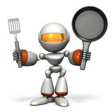 Cute robot to challenge cooking. 3D illustration Royalty Free Stock Images