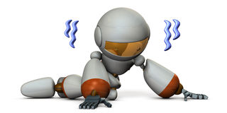 Cute robot is trembling in despair. Royalty Free Stock Photography