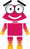 Cute robot - vector clipart. Illustration of cute pink robot smiling Stock Image