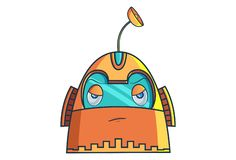 Cartoon Illustration Of Cute Robot. Cute Robot. Vector Illustration. Isolated on white background