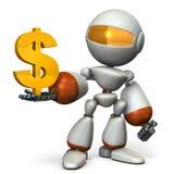 The cute robot wants a profit. 3D illustration Stock Image