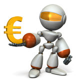 The cute robot wants a profit. Royalty Free Stock Image