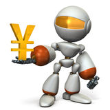 The cute robot wants a profit. Royalty Free Stock Photos