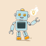 Cute robot waves his hand with yellow idea symbol Stock Photos