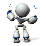 Cute robot will cheer hard. 3D illustration, Stock Images