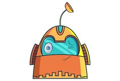 Cartoon Illustration Of Cute Robot. royalty free illustration