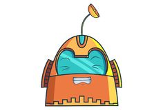 Cartoon Illustration Of Cute Robot. Cute Robot winking eyes. Vector Illustration. Isolated on white background vector illustration
