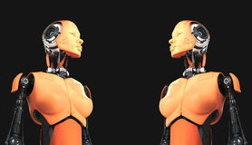 Cute robot women on black Stock Photography