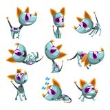 Cute robotic dog set, funny robot animal in different actions vector Illustrations on a white background. Cute robotic dog set, funny robot animal in different royalty free illustration