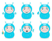 Cute robots. Set of six cute robots with different emotions Stock Photography