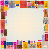 Cute robots collage doodle border Royalty Free Stock Images