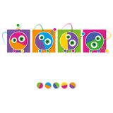 Cute robots collection greeting card Stock Image