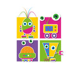 Cute robots collection greeting card Royalty Free Stock Image