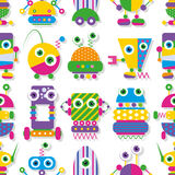 Cute robots collection pattern Royalty Free Stock Images