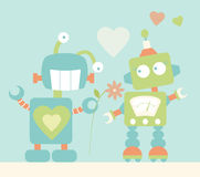 Cute Robots in Love Royalty Free Stock Photo