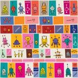 Cute robots pattern Stock Photos